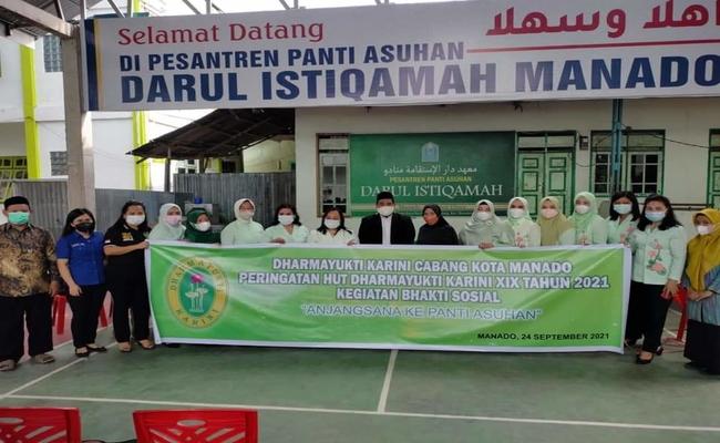 HUT DHARMAYUKTI,Pengurus Dharmayukti Karini Cabang Manado Anjangsana ke Panti Asuhan Istiqamah  dan Bukit Harapan Manado